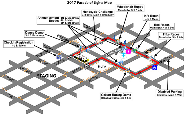 2017 Chico Parade of Lights Route Map